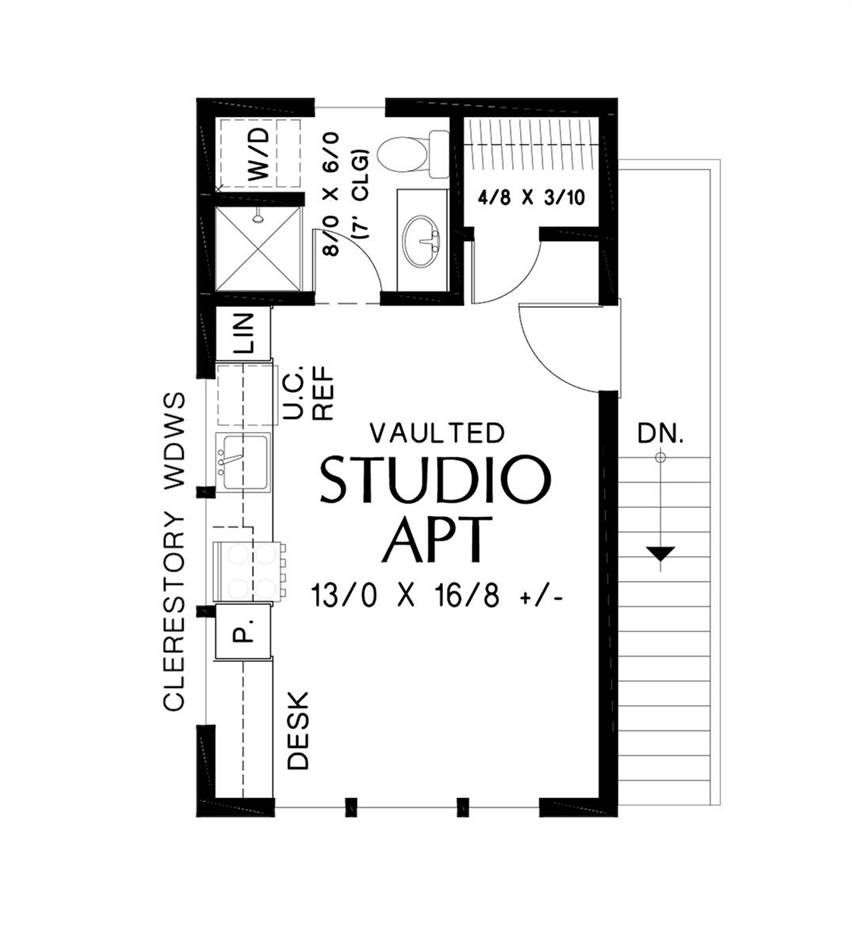 1 Car Garage Studio Apartment Contemporary House Plan 7210