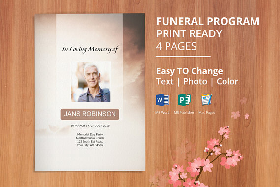 Printable Funeral Program Template Obituary Editable With Ms Word Publisher Mac Page