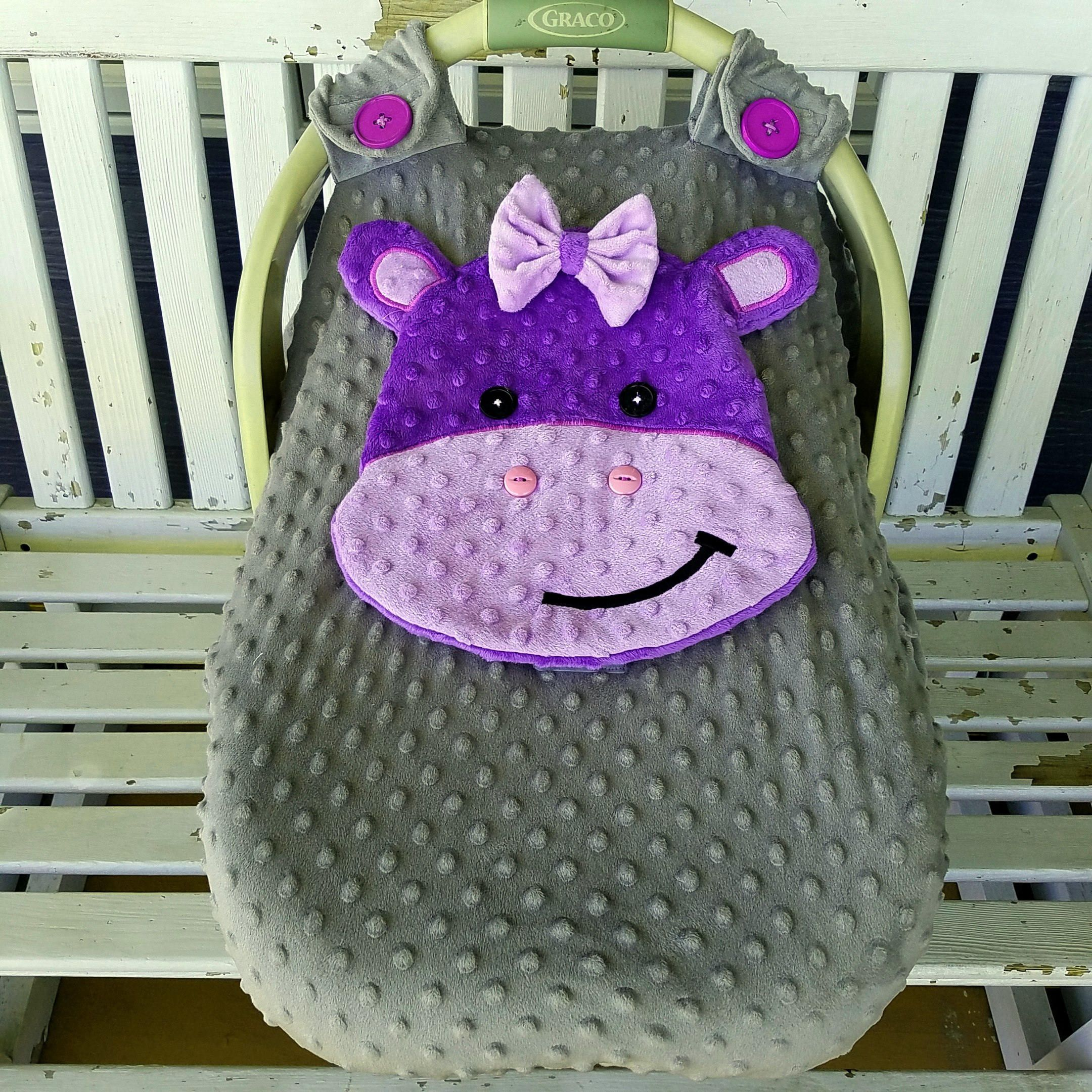 Ready To Be Shipped Hippo Fitted Car Seat Canopy With Peek A Boo Opening Purple Lavender Grey Minky By Lindasnd On Etsy