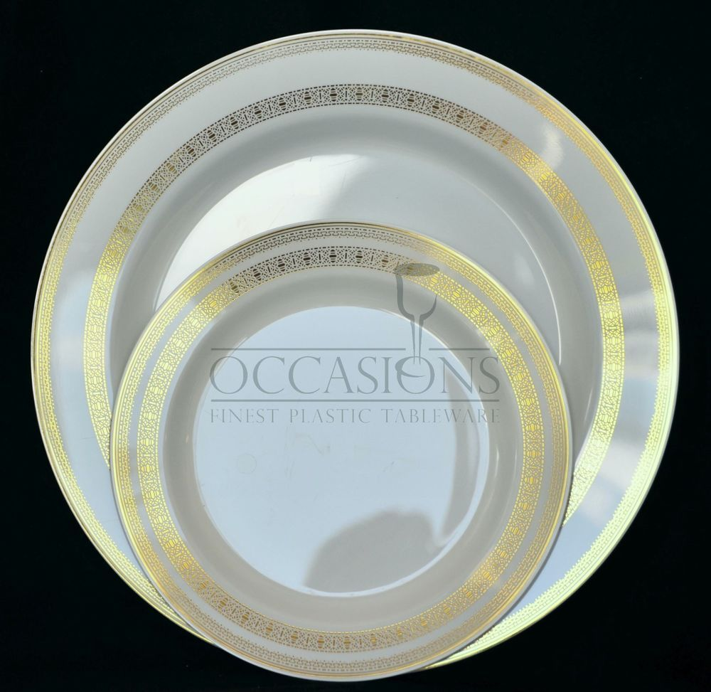 FRENCH COLLECTION - BONE GOLD - Wedding Disposable Plastic Plates \u0026 silverware & FRENCH COLLECTION - BONE GOLD - Wedding Disposable Plastic Plates ...