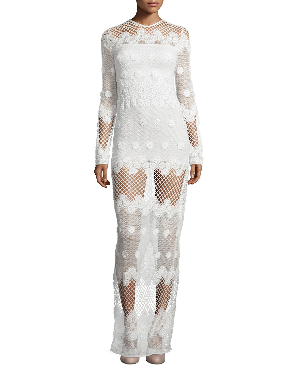 Neiman marcus dresses for weddings  Axelle LongSleeve Netted Maxi Dress White  Alexis  Neiman