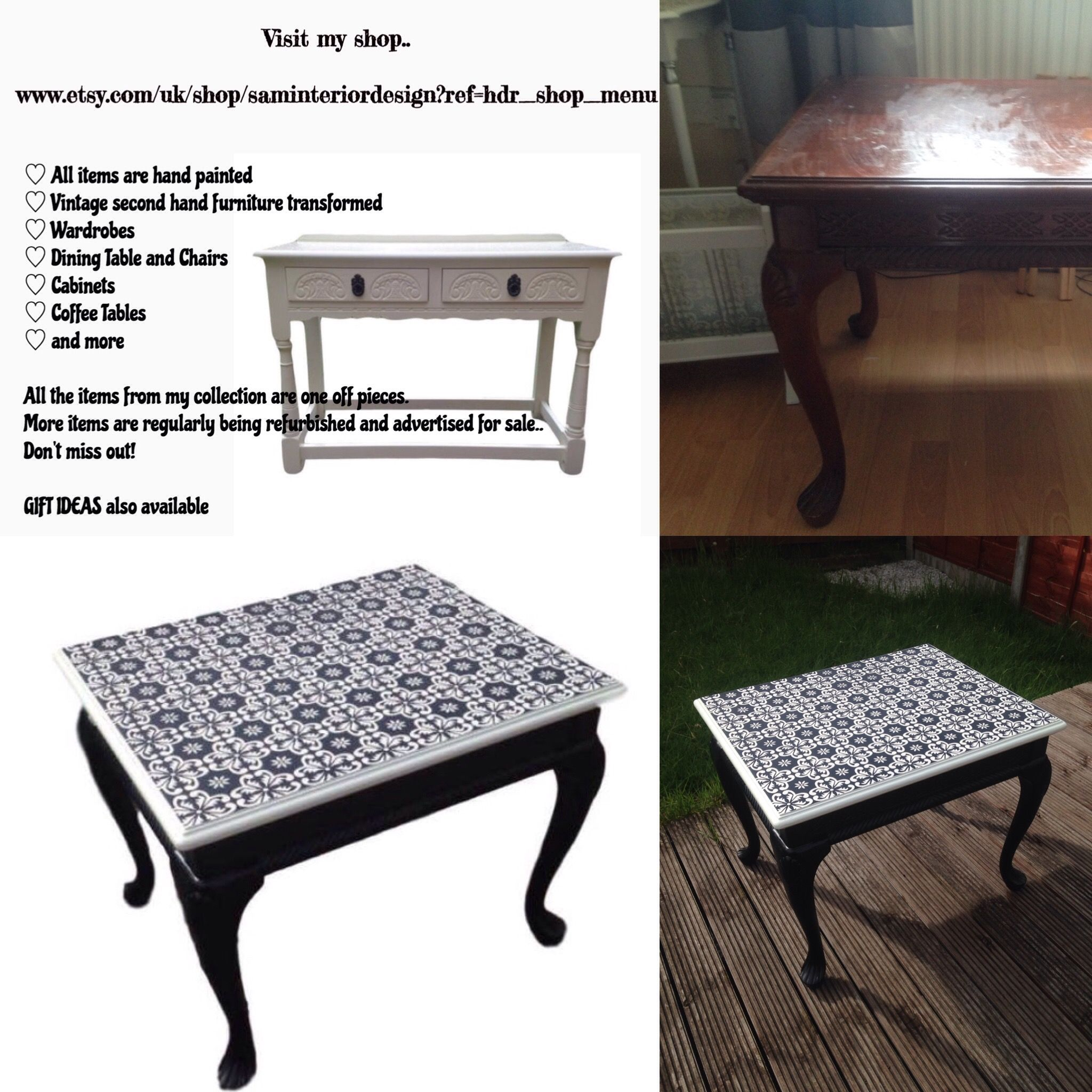 Black And White Square Coffee Table Queen Anne Legs All Hand Painted Table Top Has Been Stencilled Using Rust Furniture Dining Table Chairs Second Furniture [ 2048 x 2048 Pixel ]