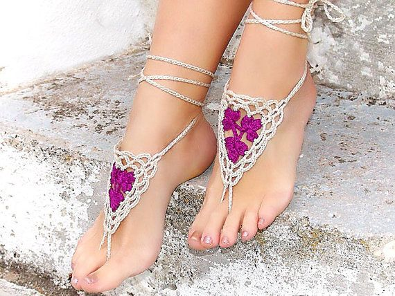 Barefoot Sandles Crochet nude shoes Tan Purple Lilac by Lasunka ...