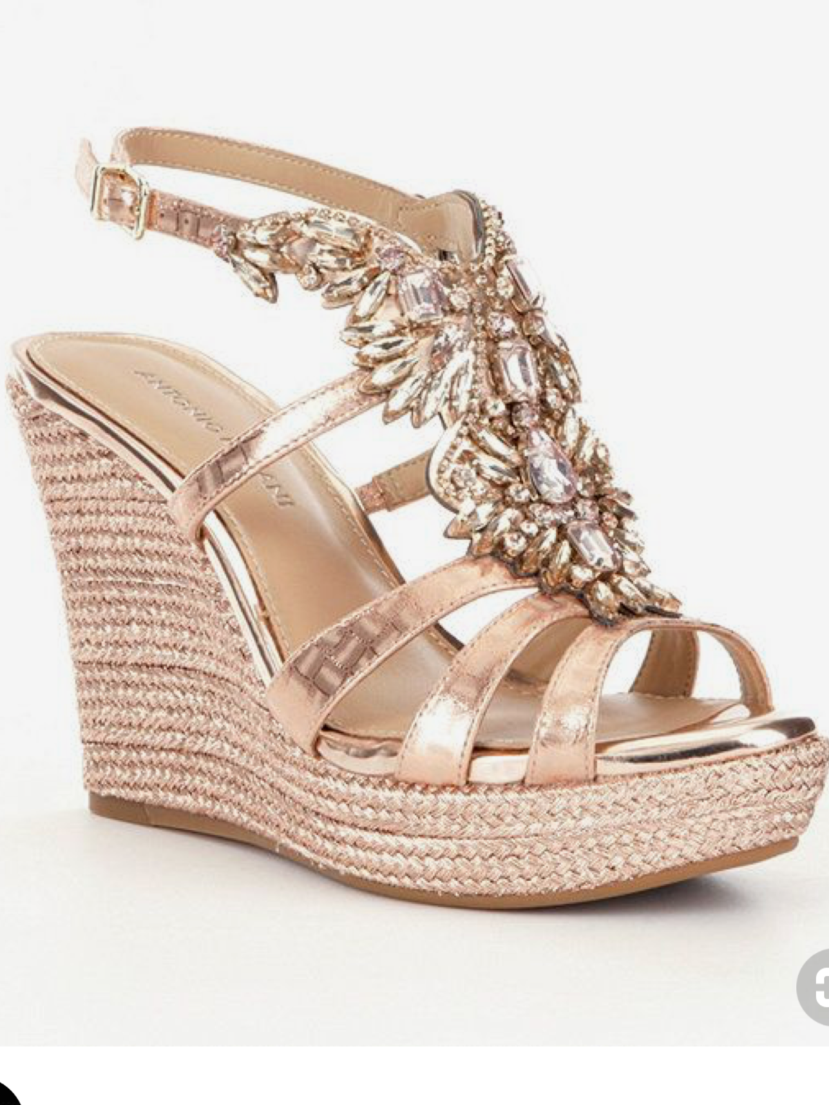 d7820ea5a75 NEW ANTONIO MELANI REENA ROSE GOLD RHINESTONE WEDDING BRIDAL GALA WEDGES 8.5