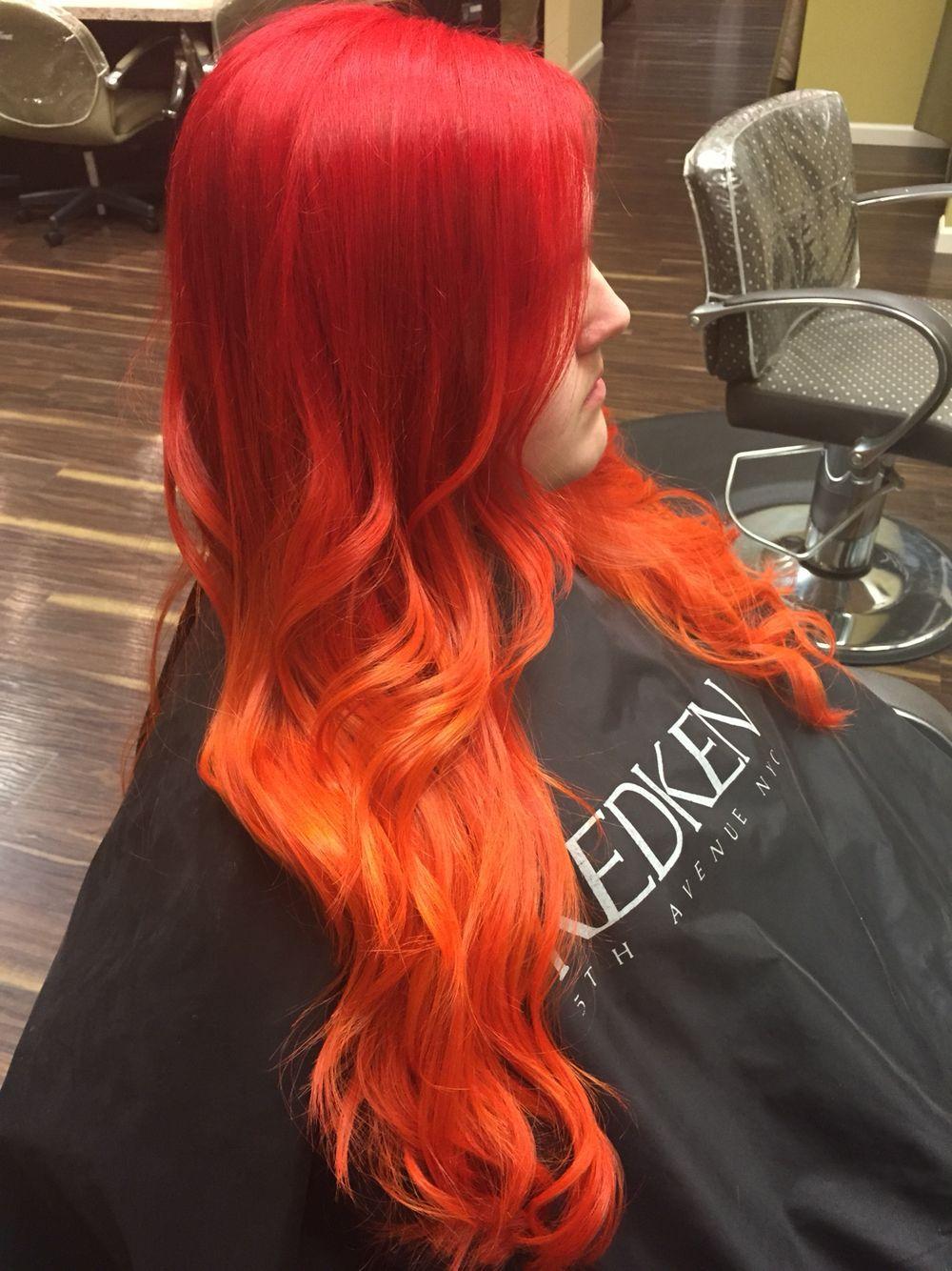 Hair red to orange fire creative balayageombre ellemarieanna