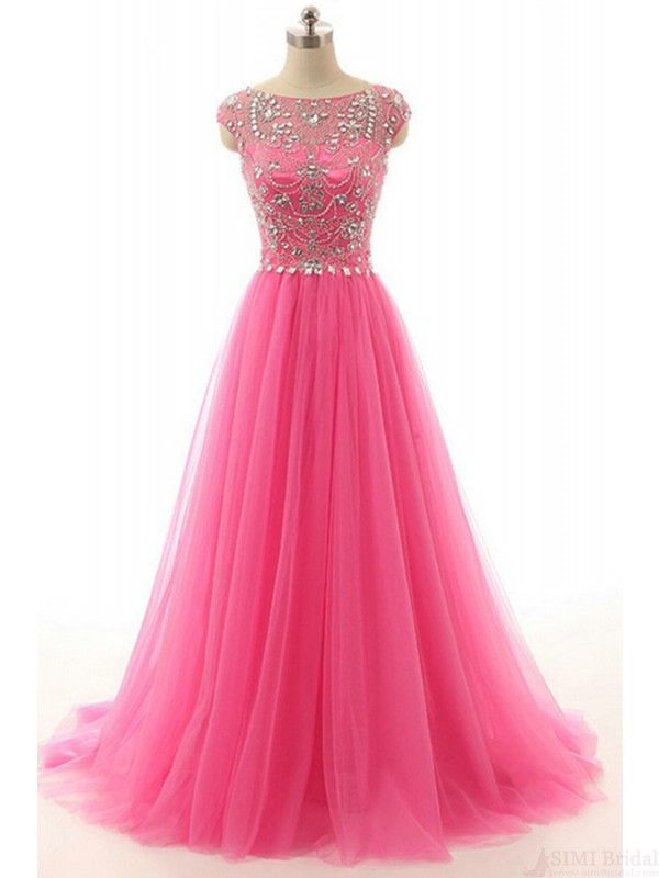 charming beading tulle prom dresses #promdresses #SIMIBridal ...