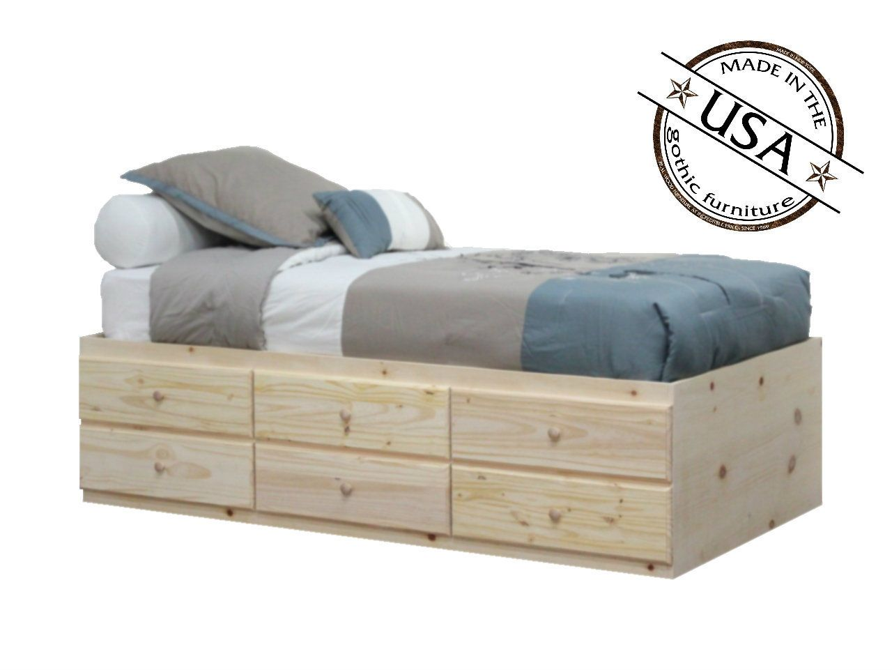 Extra Long Twin Storage Bed Pine Wood Twin Storage Bed