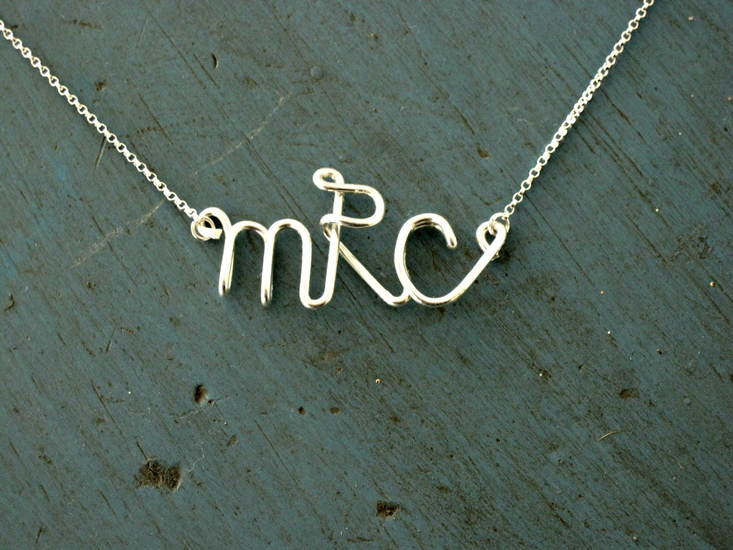 Monogram Necklace Sterling Silver Initial Necklace Personalized Bridesmaid jewelry Graduation gift. $37.00, via Etsy.