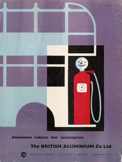 British Aluminium Co Ltd advert - Aluminium reduces fuel consumption by Tom Eckersley, April 1957 by mikeyashworth, via Flickr
