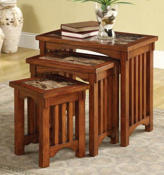 Silas Cherry Wood Faux Marble 3Pc Pack Nesting Table Set