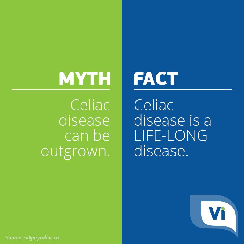 Myth: Celiac disease can be outgrown. Fact: Celiac disease ...