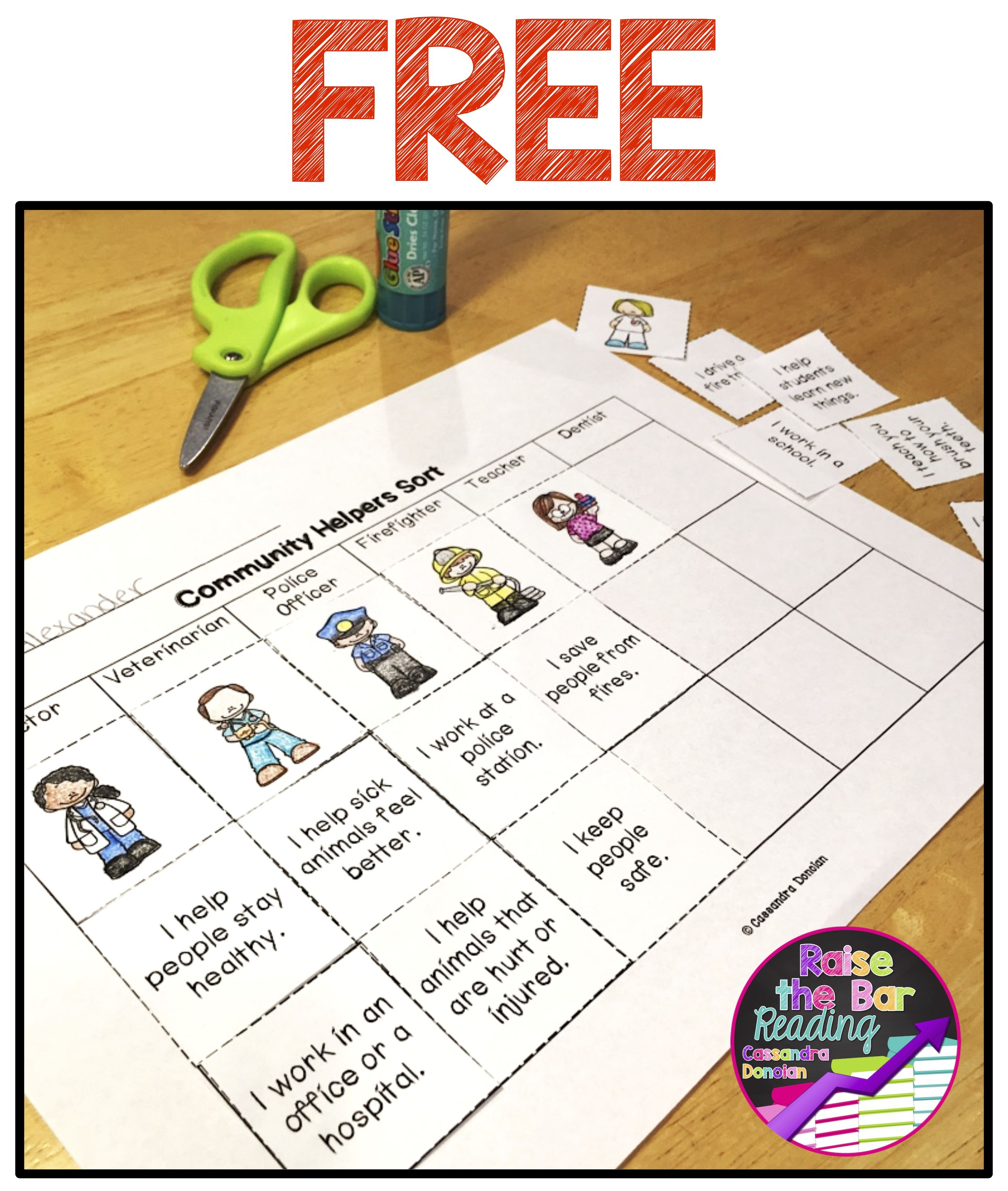 free community helpers sort raise the bar reading resources