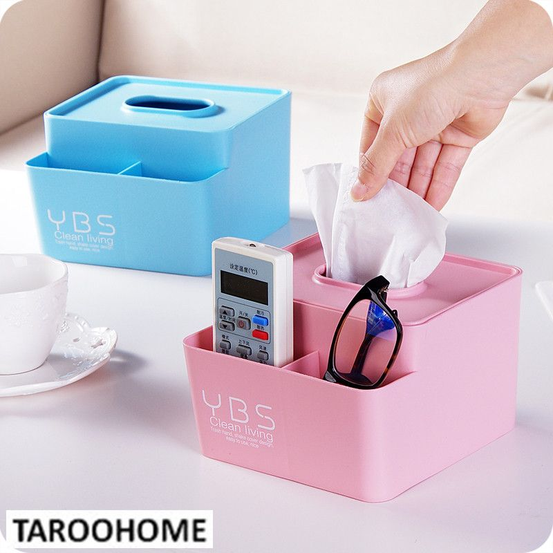 1pc Multifunctional Tissue Box Remote Control Storage Box Creative ...