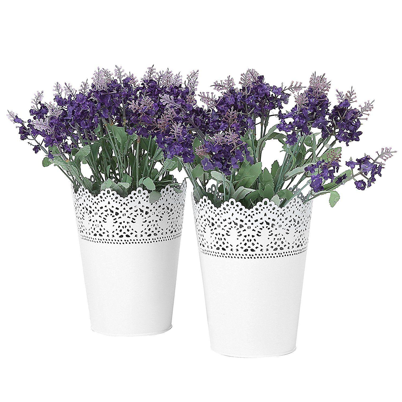 Set of 2 white metal lace cutout flower buckets decorative fretwork set of 2 white metal lace cutout flower buckets decorative fretwork organizer pails mightylinksfo Gallery