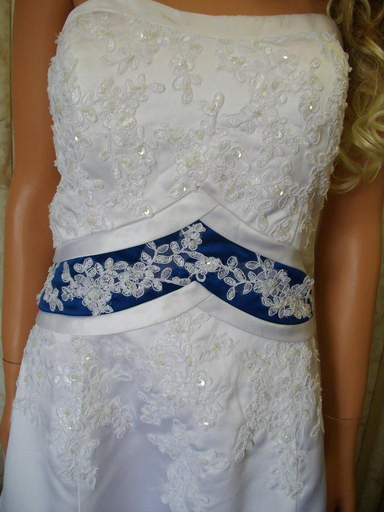 Royal blue wedding dress royal blue empire banded waist aline