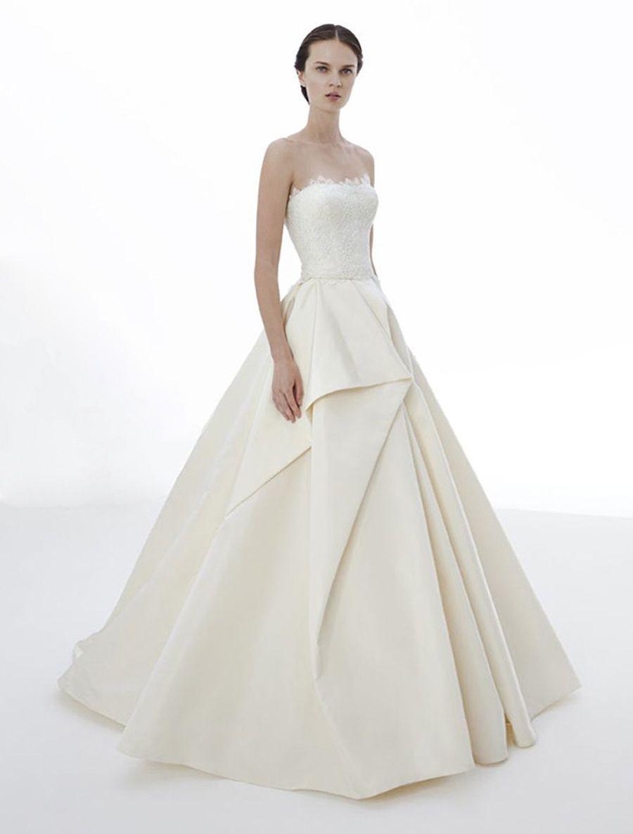 The style of this peter langner roseline wedding dress is very