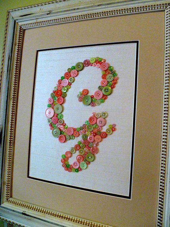 Arte personalizado del bebé vivero carta en rosa y verde botones ...