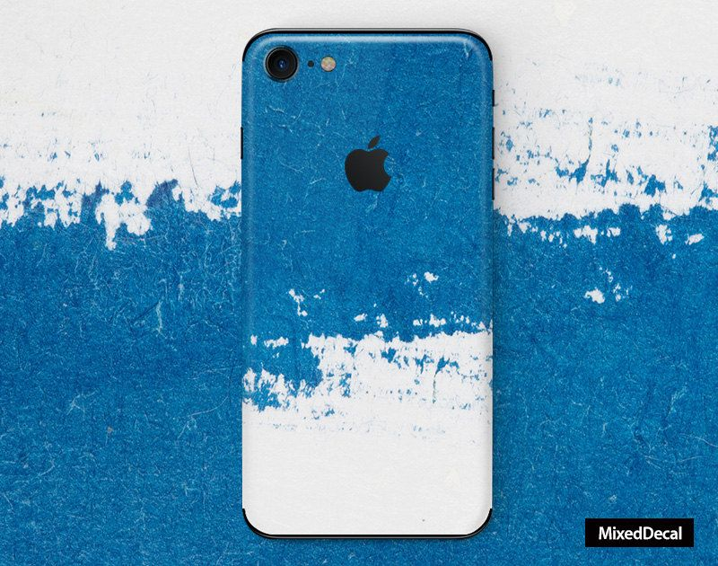Stickers Mobili ~ Iphone plus decal back stickers skin blue watercolor iphone