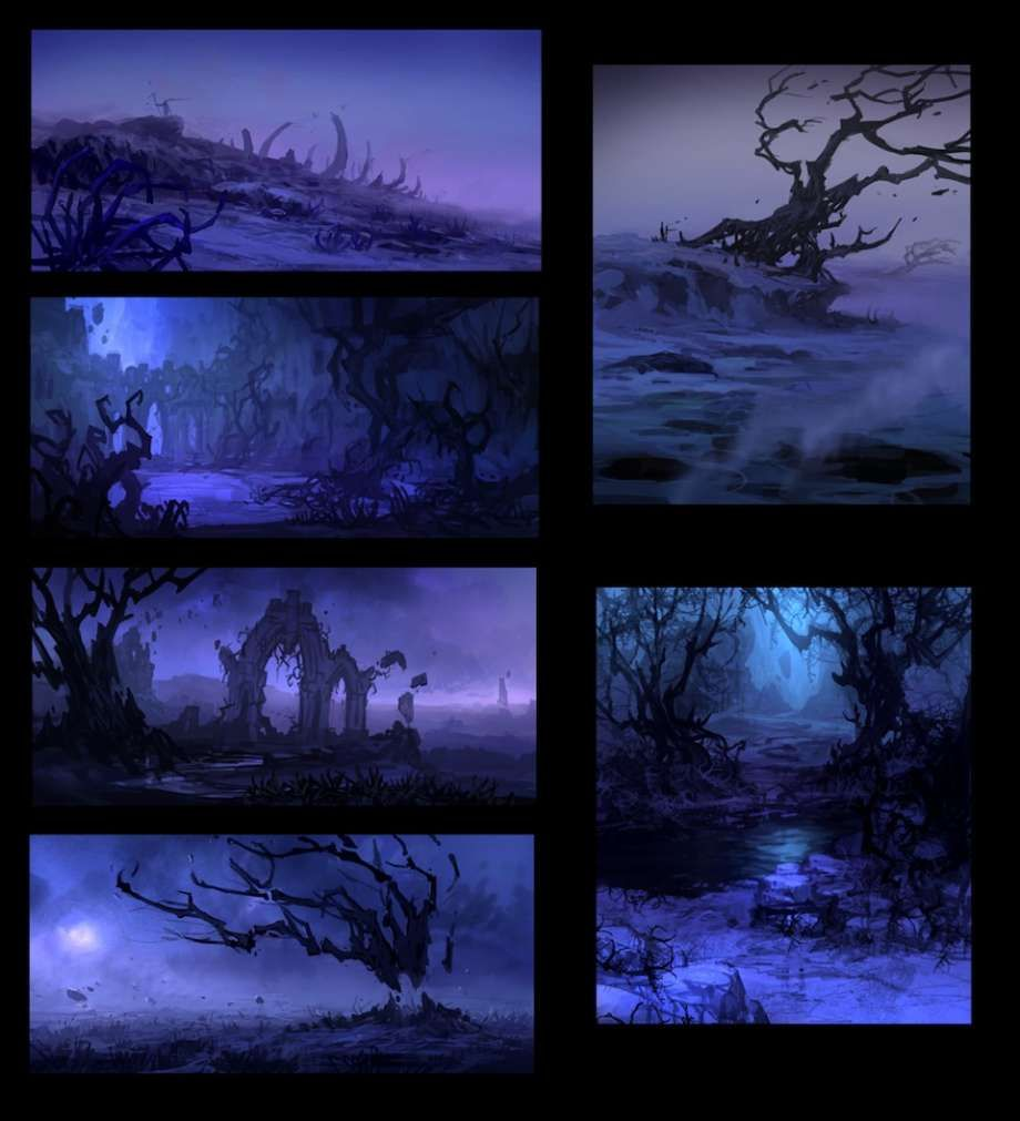 Concept art of Dead Plains Mood Sketches from Darksiders 2