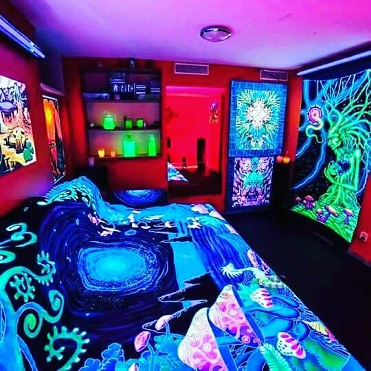 Black Light Hippie Psychedelic Bedroom Hippy Room Chill Room