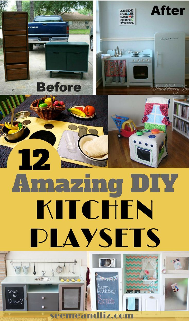 Diy kids kitchen sets from super simple to complex click to see all 12 play kitchens you can make yourself kidstoys