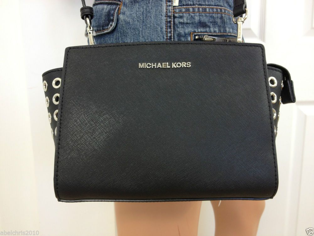 0bdd8b8466a5 ... MICHAEL KORS Selma Grommet Medium Messenger Black Silver Crossbody Bag  Purse MichaelKors ShoulderBag ...