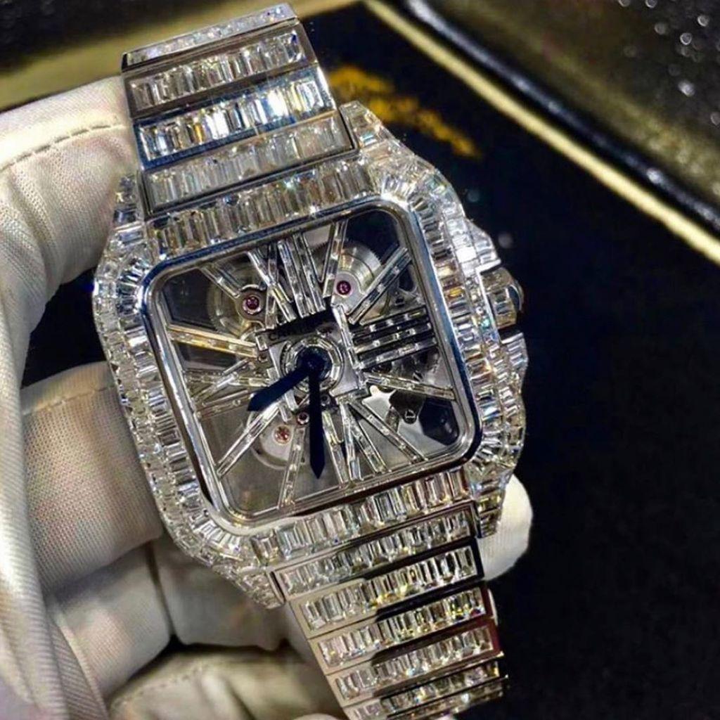 Iced Out Diamond Skeleton Watch In 2020 Jewelry Skeleton Watch Artificial Diamonds
