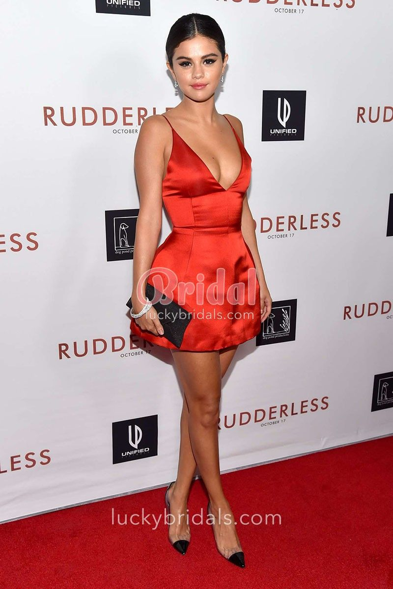 8f5275d671c Selena Gomez red cocktail dress at a screening of Rudderless held at the  Vista Theatre 2014. Selena Gomez short red satin dress was a short mini  celebrity ...