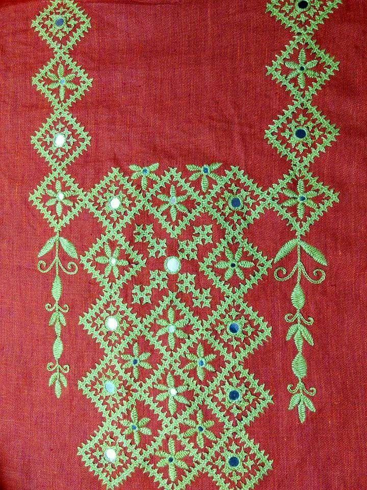 Kutch work neck patterns kutchwork pinterest