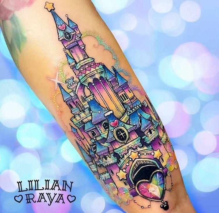 62d61b30d Pastel glitter rainbow disney castle tattoo | tattoos | Τατουάζ