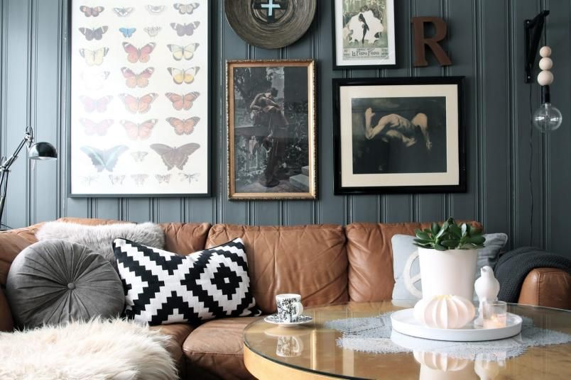 Tan Leather Couch With Dark Grey Blue Wall Cushions Frames