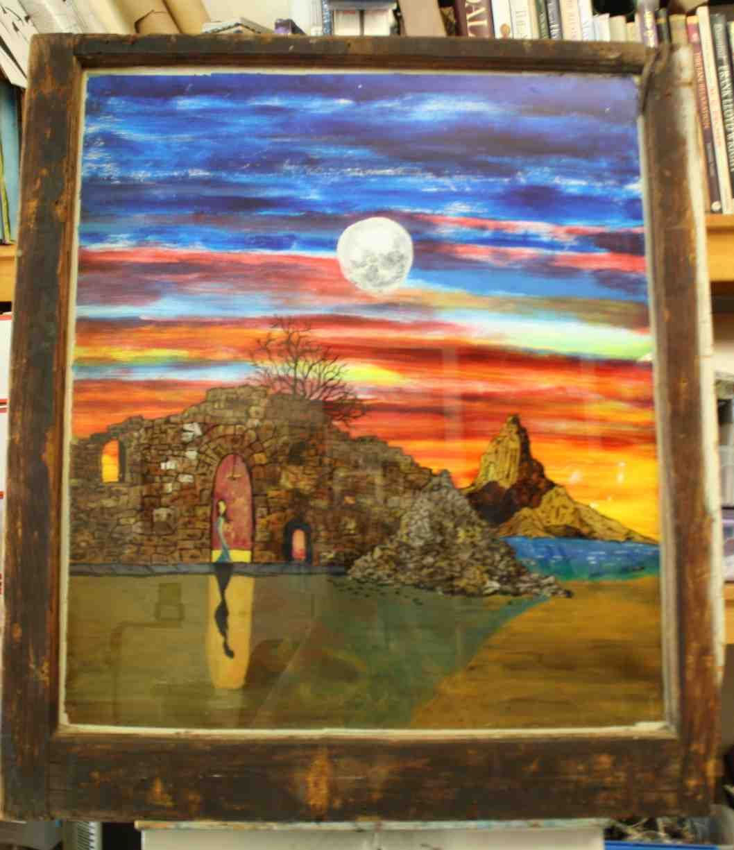 At The End Of The Journey Acrylic Reverse Painting On Glass