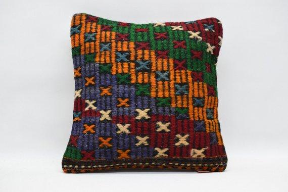 multi colour tribal kilim pillow embroidery pillow naturel handwoven turkish pillow throw pillow 16x