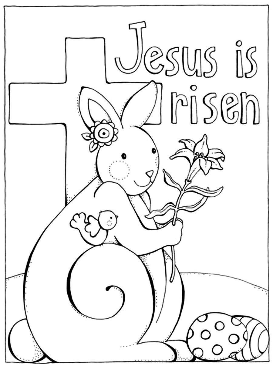 Jesus Is Risen Christian Coloring Pages For Kids Compliments Of Warren Camp Design Bunny Coloring Pages Easter Bunny Colouring Free Easter Coloring Pages
