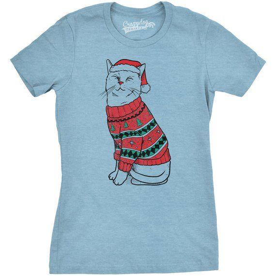 d943f9120 Christmas Cat Shirt, Cat Santa T Shirt, Santa Claus Cat, Girls Festive  Christmas Top, Funny Cat Shir
