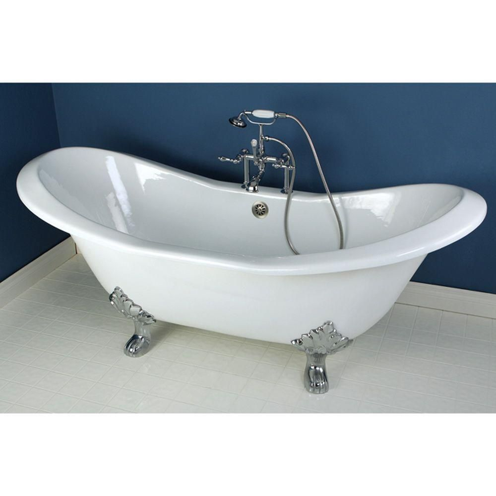 Aqua Eden Double Slipper 6 Ft Cast Iron Clawfoot Bathtub In White