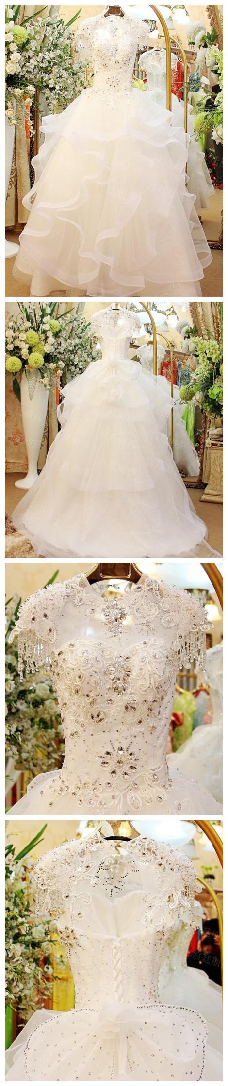 Rhinestone wedding dresses  Aline Shiny Scoop Neck Wedding DressesAppliqued Dresses For Autumn