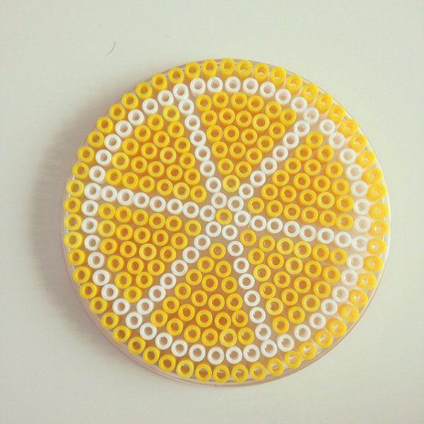 Dessous de verre citron diy pinterest dessous de verre citron et verre - Perles a repasser modeles gratuit ...