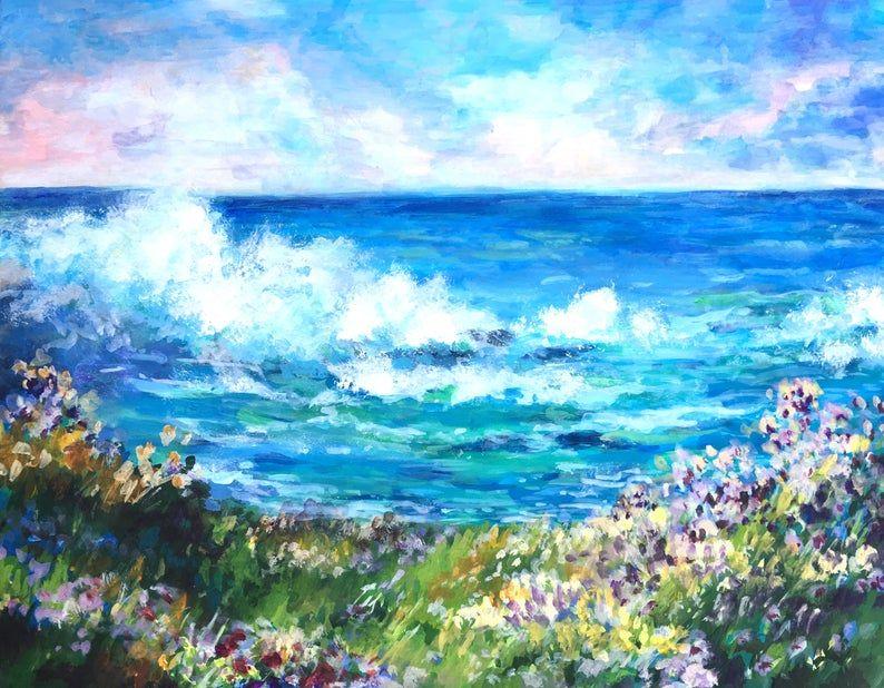 Stunning Original Impressionist Landscape Scene Ocean Wave Flower Acrylic Painting Wall Art Sunset Landscape Photography Impressionist Landscape Blue Sunset