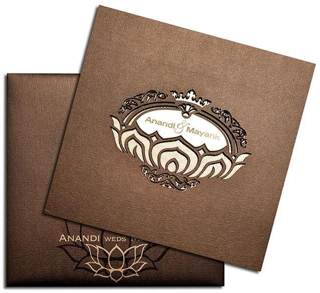 271a9d6d8f Stunning laser cut invitation with lotus theme. Front of this invitation  feature a gorgeous laser