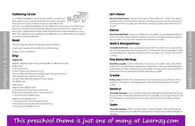 Alligator and crocodile preschool theme lesson plan. Alligator ...