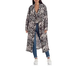 This stylish trench is updated with a sassy zebra print. From Avec Les Filles.