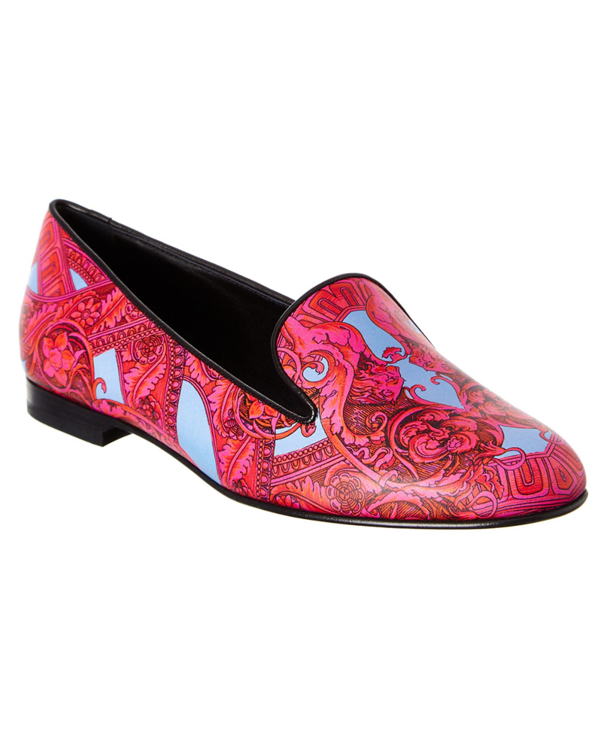 b05c530337 VERSACE | Versace Barocco Is Tante Leather Print Loafer #Shoes #Flats # VERSACE