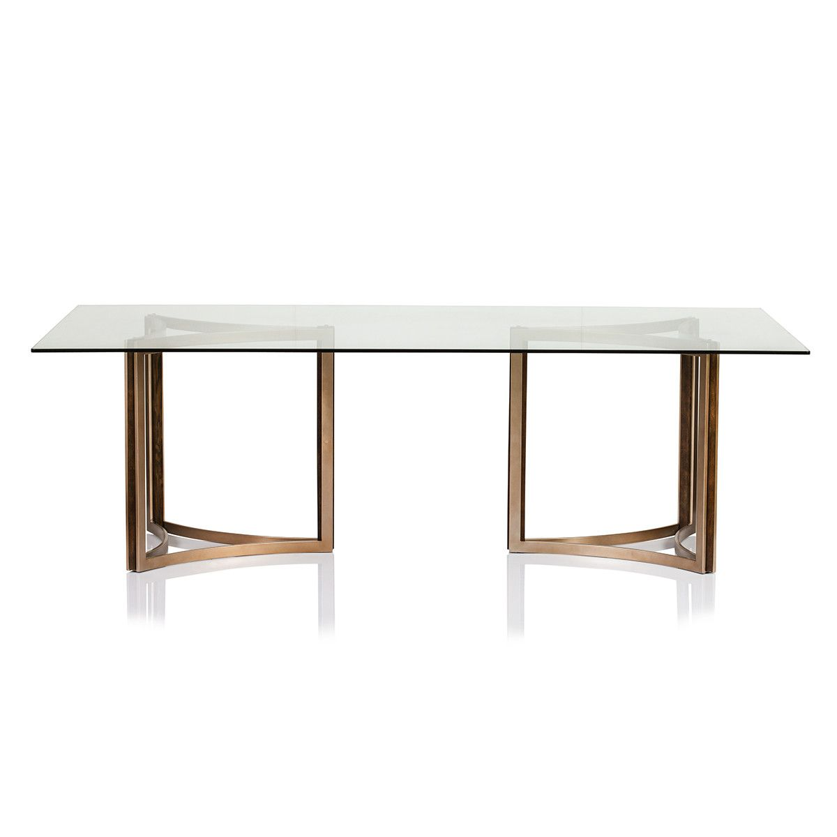 Manhattan glass top dining table elegant dining matte for Fancy glass dining table
