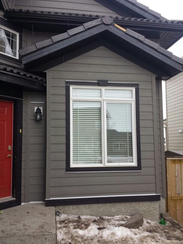Hardie Siding Custom Painted To Dark Grey With Black Trim Our Completed Projects Pinterest