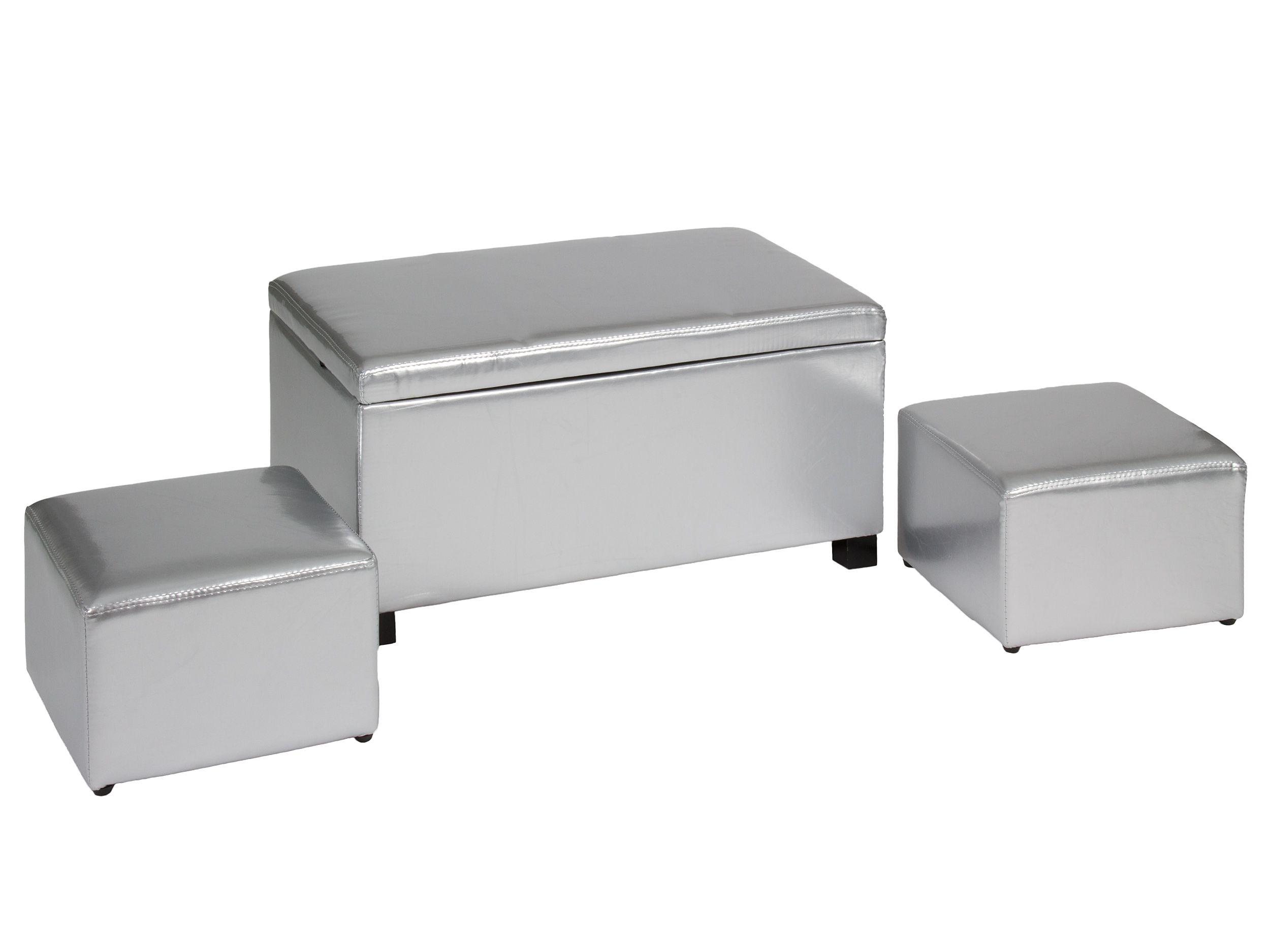 Panca Imbottita Dalani : Set di 1 panchetta contenitore e 2 pouf in similpelle argento