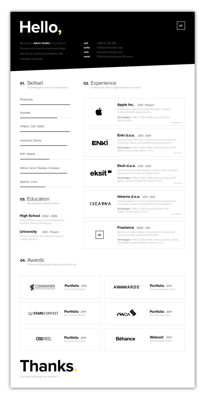 Indesign Cv Resume Inspiration Minimal Color Amir Hadzic  Design