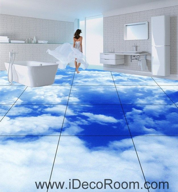 Exceptionnel Blue Sky Clouds 00020 Floor Decals 3D Wallpaper Wall Mural Stickers Print  Art Bathroom Decor Living