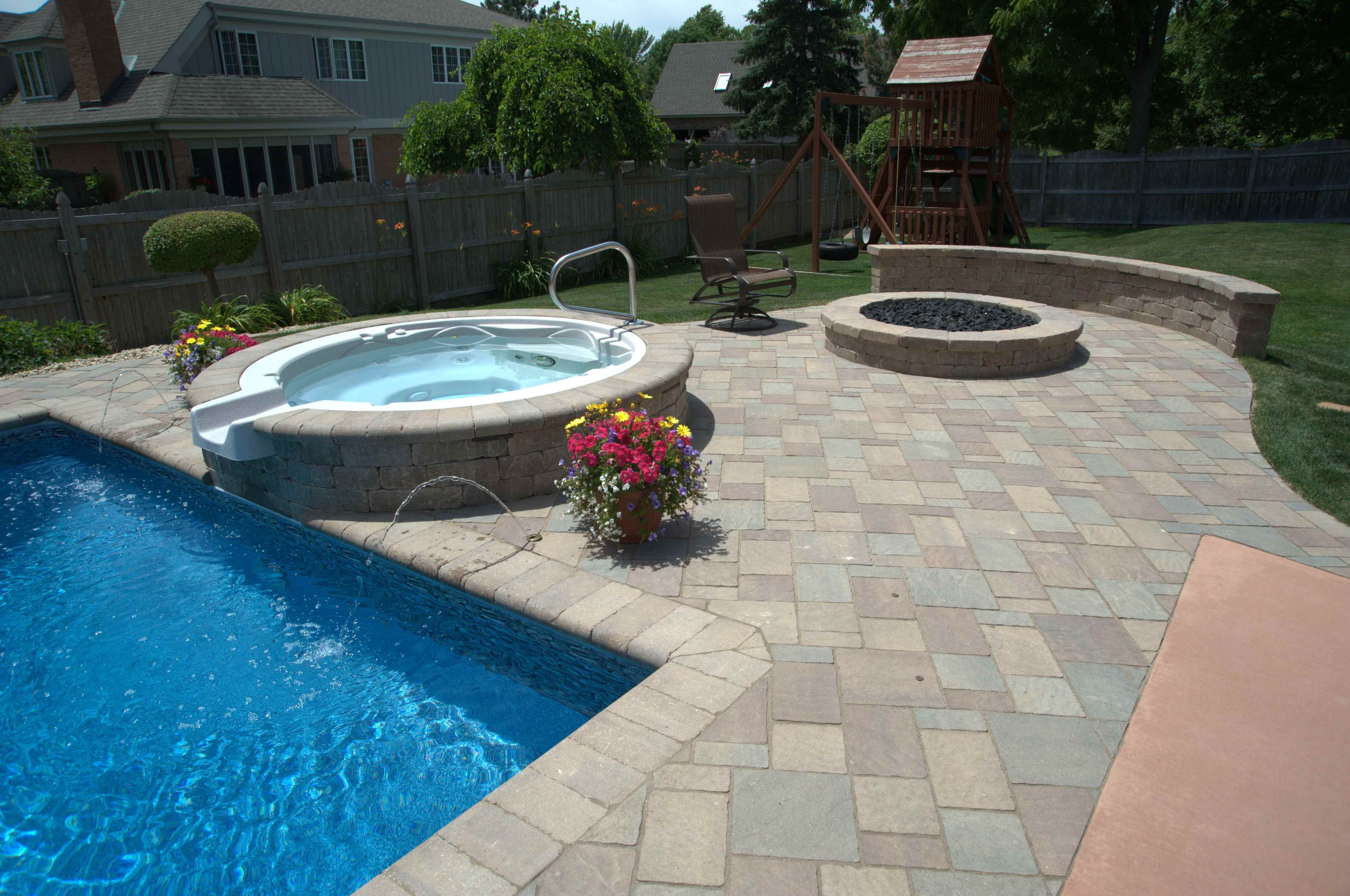 Elevated Spa And Natural Gas Fire Pit Complete This Backyard Pool Remodeling Project Backyard Remodel Pool Remodel Spa Pool