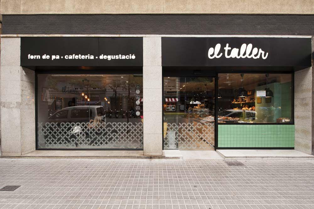 Fachada cafeter a el taller barrio de gr cia de barcelona - Fachadas de talleres ...